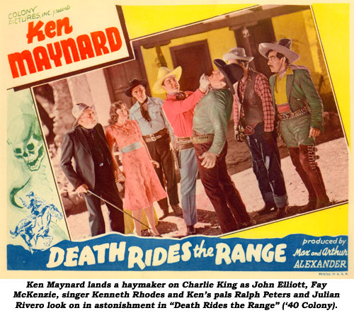 "Ken Maynard lands a haymaker on Charlie King as John Elliott, Fay McKenzie, singer Kenneth Rhodes and Ken's pals Ralph Peters and Julian Rivero look on in astonishment in ""Death Rides the Range"" ('40 Colony)."