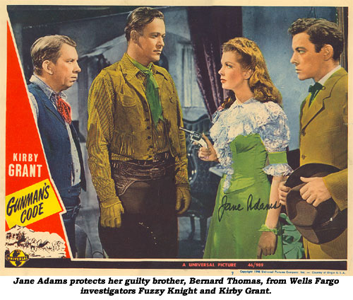 "Jane Adams protects her guilty brother, Bernard Thomas, from Wells Fargo investigators Fuzzy Knight and Kirby Grant on this lobby card from ""Gunman's Code""."