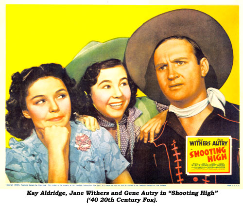 "Kay Aldridge, Jane Withers and Gene Autry in ""Shooting High"" ('40 20th Century Fox)."
