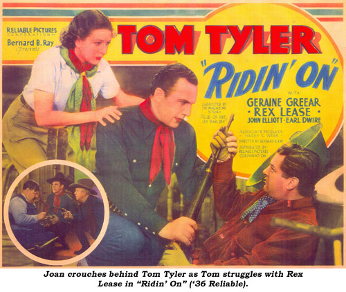 "Joan crouches behind Tom Tyler as Tom struggles with Rex Lease in ""Ridin' On"" ('36 Reliable)."