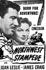 "Newspaper ad for ""Northwest Stampede"" starring Joan Leslie and James Craig."