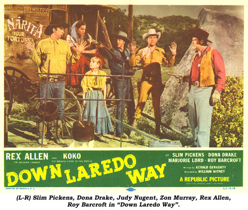 "(L-R) Slim Pickens, Dona Drake, Judy Nugent, Zon Murray, Rex Allen, Roy Barcroft in ""Down Laredo Way""."