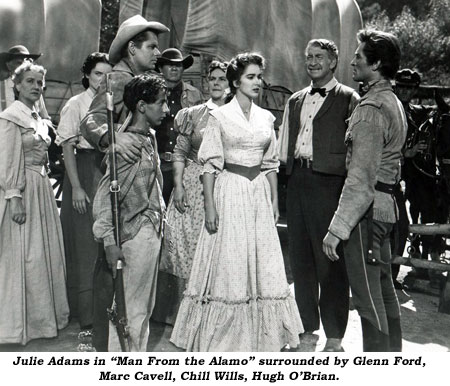 "Julie Adams in ""Man From the Alamo"" surrounded by Glenn Ford, Marc Cavell, Chill Wills, Hugh O'Brian."