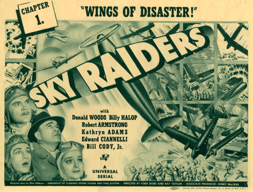 "Title card for ""Sky Raiders""."