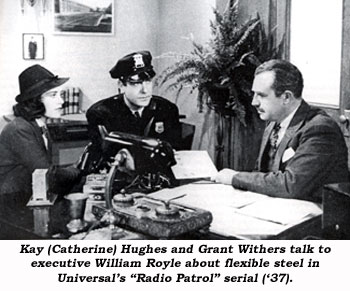 "Kay (Catherine) Hughes and Grant Withers talk to executive William Royle about flexible steel in Universal's ""Radio Patrol"" serial ('37)."