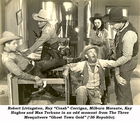 "Robert Livingston, Ray ""Crash"" Corrigan, Milburn Morante, Kay Hughes and Max Terhune in an odd moment from The Three Mesquiteers ""Ghost Town Gold"" ('36 Republic)."