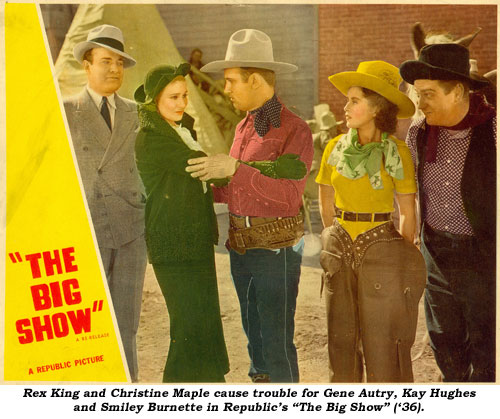 "Rex King and Christine Maple cause trouble for Gene Autry, Kay Hughes and Smiley Burnette in Republic's ""The Big Show"" ('36)."