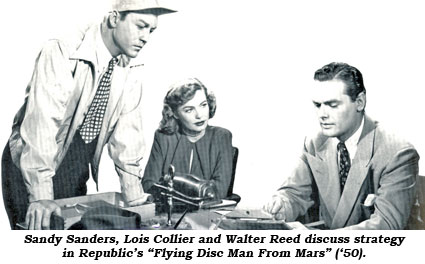 "Sandy Sanders, Lois Collier and Walter Reed discuss strategy in Republic's ""Flying Disc Man From Mars"" ('50)."