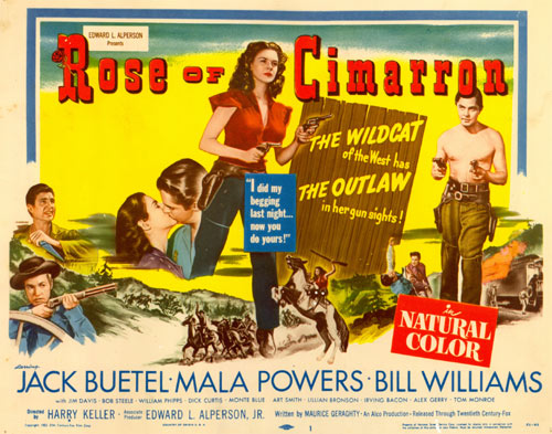"Title card for ""Rose of Cimarron"" starring Mala Powers."