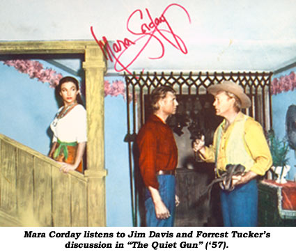 "Mara Corday listens to Jim Davis and Forrest Tucker's discussion in ""The Quiet Gun"" ('57)."