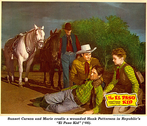 "Sunset Carson and Marie cradle a wounded Hank Patterson in Republic's ""El Paso Kid"" ('46)."