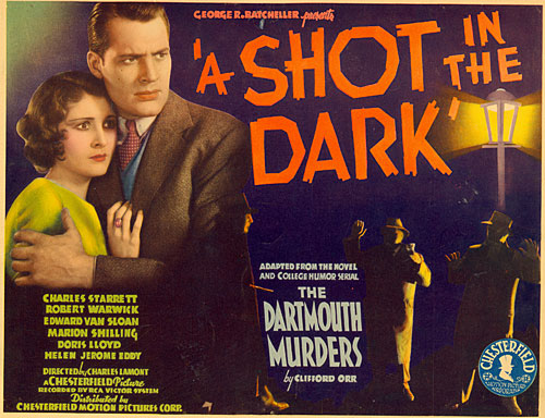 "Title card for ""A Shot in the Dark"" starring Charles Starrett and Marion Shilling."