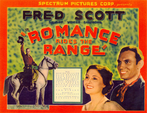 "Title card for ""Romance Ride the Range"" starring Fred Scott and Marion Shilling."
