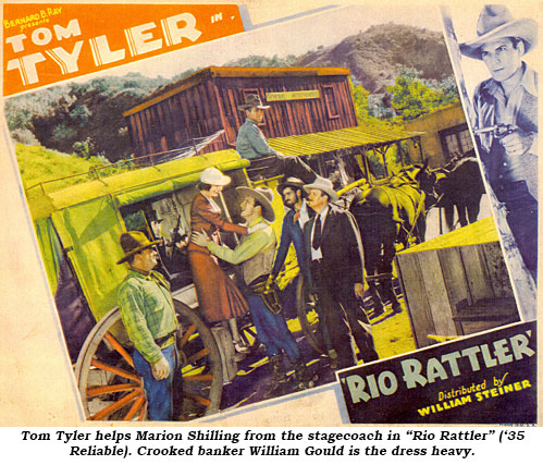 "Tom Tyler helps Marion from the stagecoach in ""Rio Rattler"" ('35 Reliable). Crooked banker William Gould is the dress heavy."