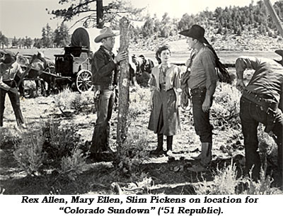 "Rex Allen, Mary Ellen, Slim Pickens on loaction for ""Colorado Sundown"" ('51 Republic)."