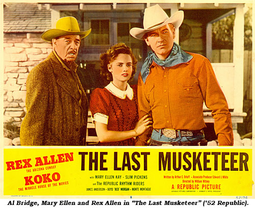 "Al Bridge, Mary Ellen and Rex Allen in ""The Last Musketeer"" ('52 Republic)."