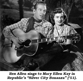 "Rex Allen sings to Mary Ellen Kay in Republic's ""Silver City Bonanza"" ('51)."