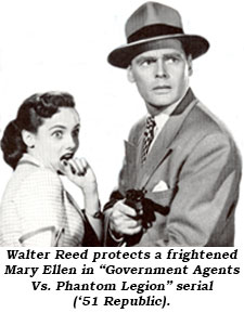 "Walter Reed protects a frightened Mary Ellen in ""Government Agents Vs. Phanton Legion"" serial ('31 Republic)."