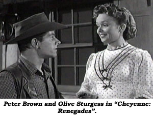"Peter Brown and Olive Sturgess in ""Cheyenne: Renegades""."