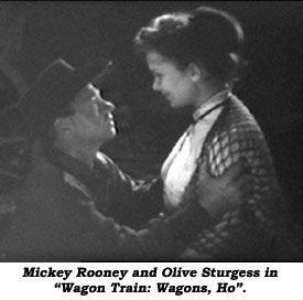 "Mickey Rooney and Olive Sturgess in ""Wagon Train: Wagons, Ho""."