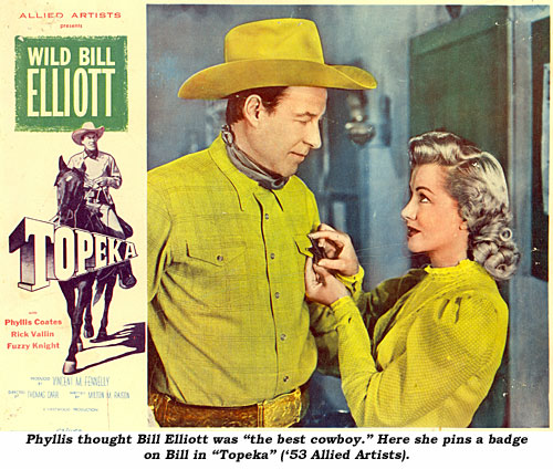 "Phyllis thought Bill Elliott was ""the best cowboy."" Here she pins a badge on Bill in ""Topeka"" ('53 Allied Artists)."