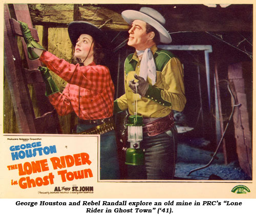 "George Houston and Rebel Randall explore an old mine in PRC's ""Lone Rider in Ghost Town"" ('41)."