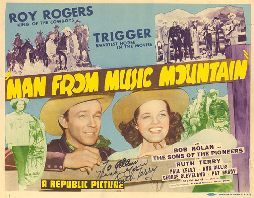 "Title Card for ""Man from Music Mountain"" starring Roy Rogers and Ruth Terry."