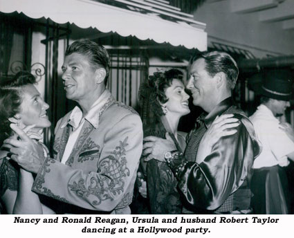 Nancy and Ronald Reagan, Ursula and husband Robert Taylor dancing at a Hollywood party.