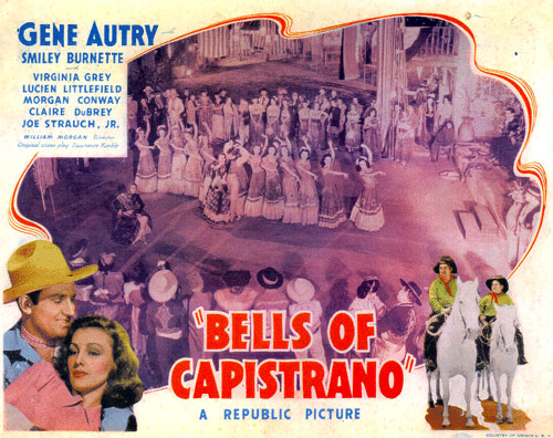 "Title card to ""Bells of Capistrano"" with Gene Autry and Virginia Grey."