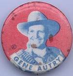 Gene Autry red/blue 1¼ pinback (G-VG, couple marks)