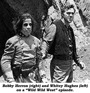 "Bobby Herron (right) and Whitey Hughes (left) on a ""Wild Wild West"" episode."