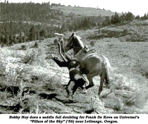"Bobby Hoy does a saddle fall doubling for Frank De Kova on Universal's ""Pillars of the Sky"" ('56) near LeGrange, Oregon."