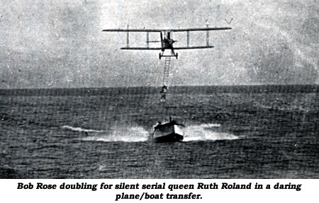 Bob Rose doubling for silent serial queen Ruth Roland in a daring plane/boat transfer.
