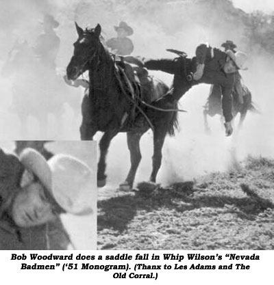 "Bob Woodward does a saddle fall in Whip Wilson's ""Nevada Badmen"" ('51 Monogram). (Thanx to Les Adams and The Old Corral.)"