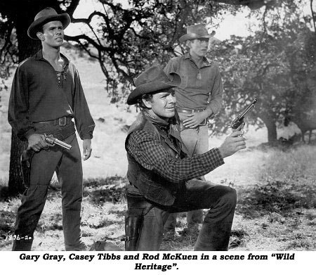 "Gary Gray, Casey Tibbs and Rod McKuen in a scene from ""Wild Heritage""."