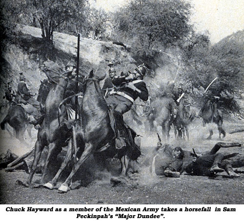 "Chuck Hayward as a member of the Mexican Army takes a horsefall in John Wayne's ""The Alamo""."