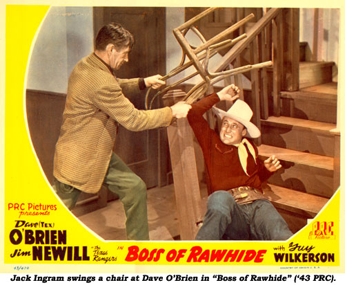 "Jack Ingram swings a chair at Dave O'Brien in ""Boss of Rawhide"" ('43 PRC)."