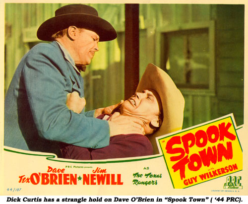 "Dick Curtis has a strangle hold on Dave O'Brien in ""Spook Town"" ('44 PRC)."