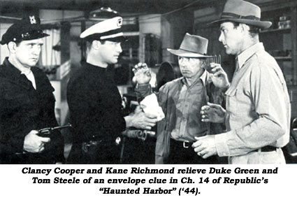 "Clancy Cooper and Kane Richmond relieve Duke Green and Tom Steele of an envelope clue in Ch. 14 of Republic's ""Haunted Harbor"" ('44)."