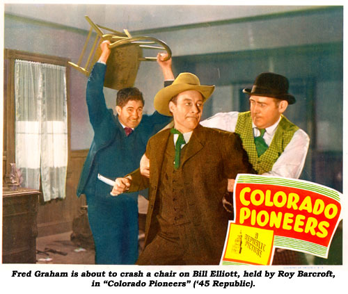 "Fred Graham is about to crash a chair on Bill Elliott, held by Roy Barcroft, in ""Colorado Pioneers"" ('45 Republic)."