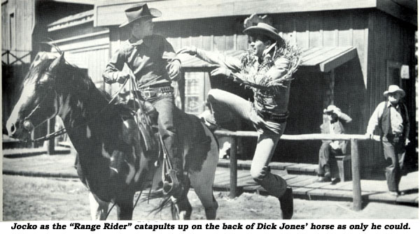 "Jocko as the ""Range Rider"" catapults up on the back of Dick Jones' horse as only he could."