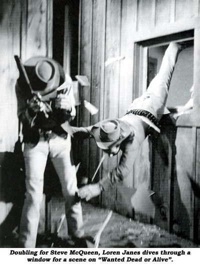 "Doubling for Steve McQueen, Loren Janes dives through a window for a scene on ""Wanted Dead or Alive""."