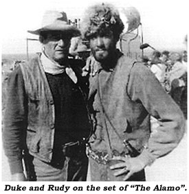 "Duke and Rudy on the set of ""The Alamo""."