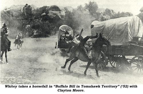 "Whitey takes a horsefall in ""Buffalo Bill in Tomahawk Territory"" ('52) starring Clayton Moore."