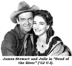 "James Stewart and Julie in ""Bend of the River"" ('52 U-I)."