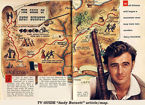 "TV GUIDE ""Andy Burnett"" article/map."