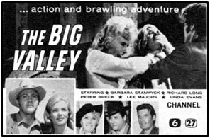"TV GUIDE ad for ""The Big Valley""."