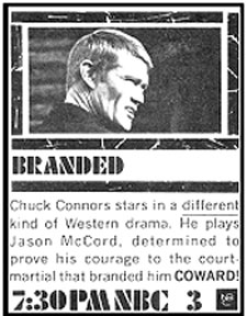 "TV GUIDE ad for ""Branded"" starrig Chuck Connors."