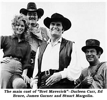 "The main cast of ""Bret Maverick""--Darleen Carr, Ed Bruce, James Garner and Stuart Margolin."