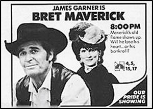 "James Garner is ""Bret Maverick"". Newspaper ad for the show."
